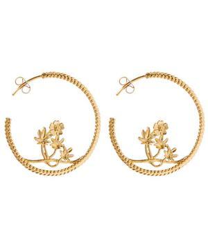 Gold-Plated Large Braided Cinquefoil Hoop Earrings