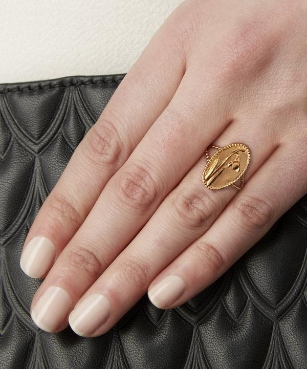 Gold-Plated Oval Snowdrop Cameo Ring