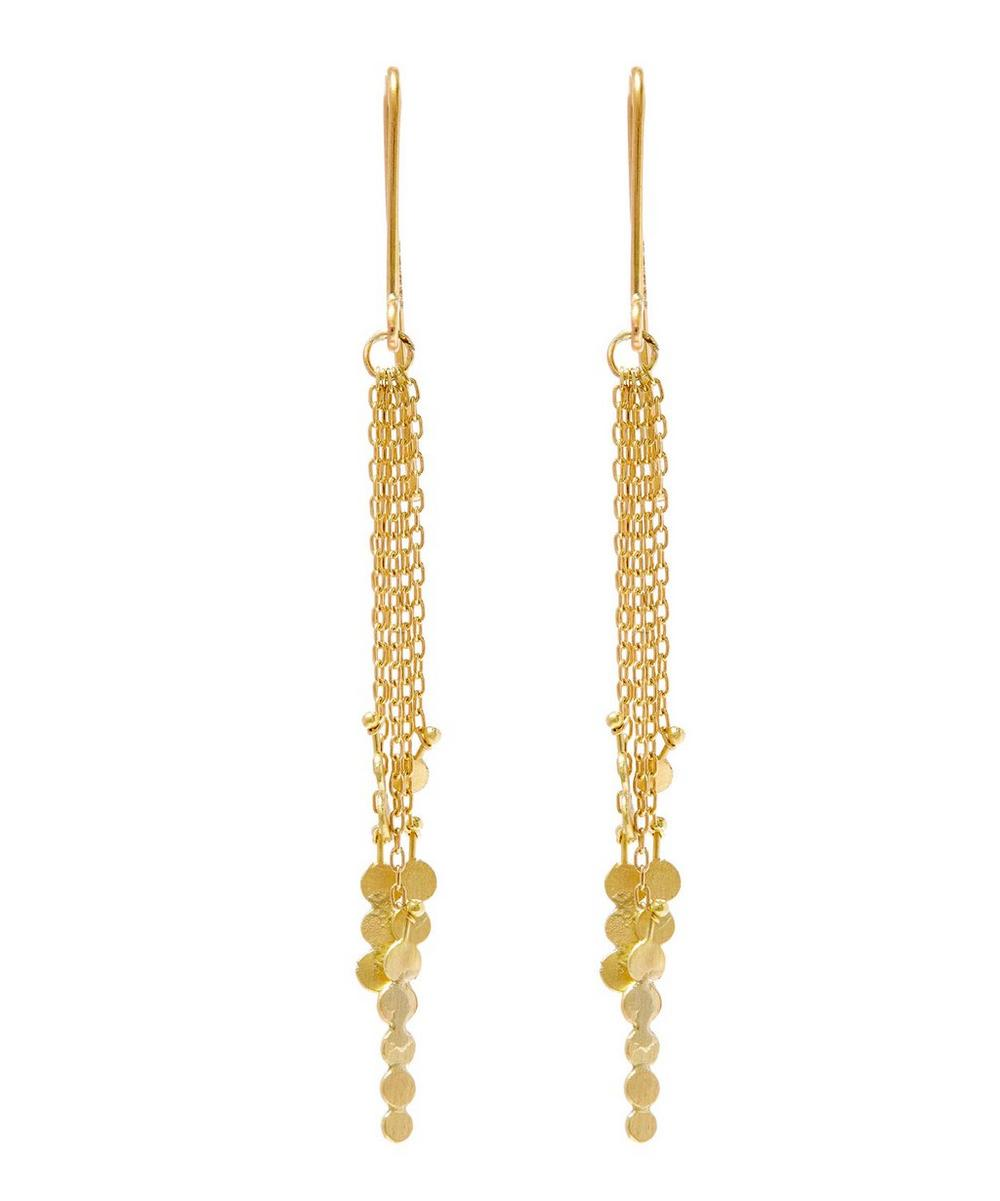 Gold Dot Cluster Drop Chain Earrings