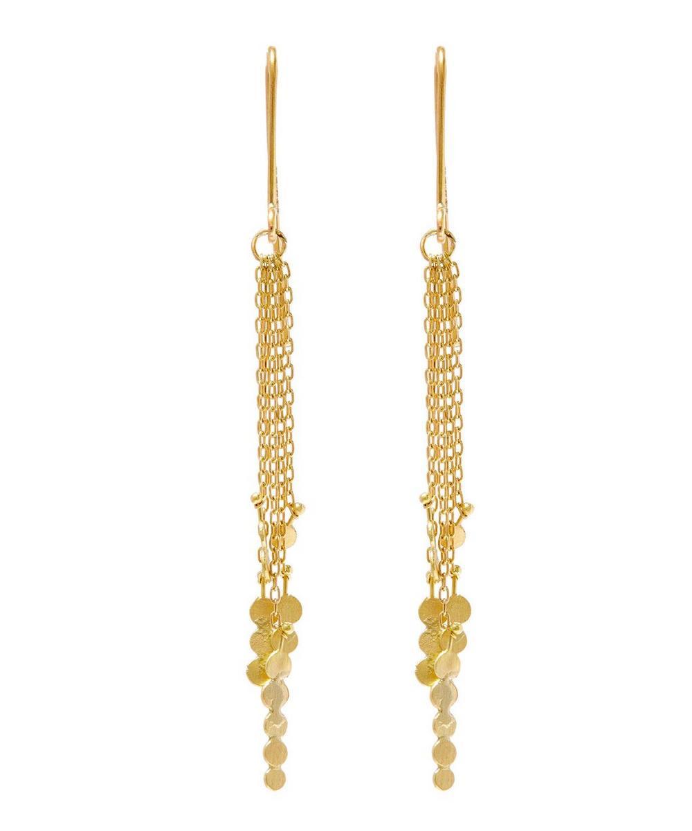 Gold Dot Cluster Drop Chain Earrings