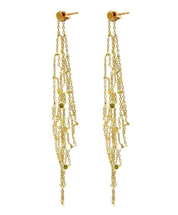 Gold Grid Drop Earrings