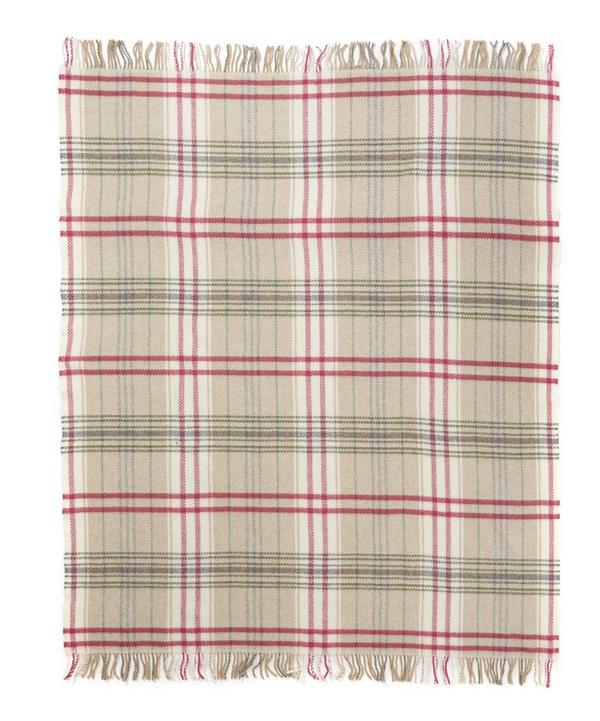 Cashmere Merino Wool Blend Check Throw