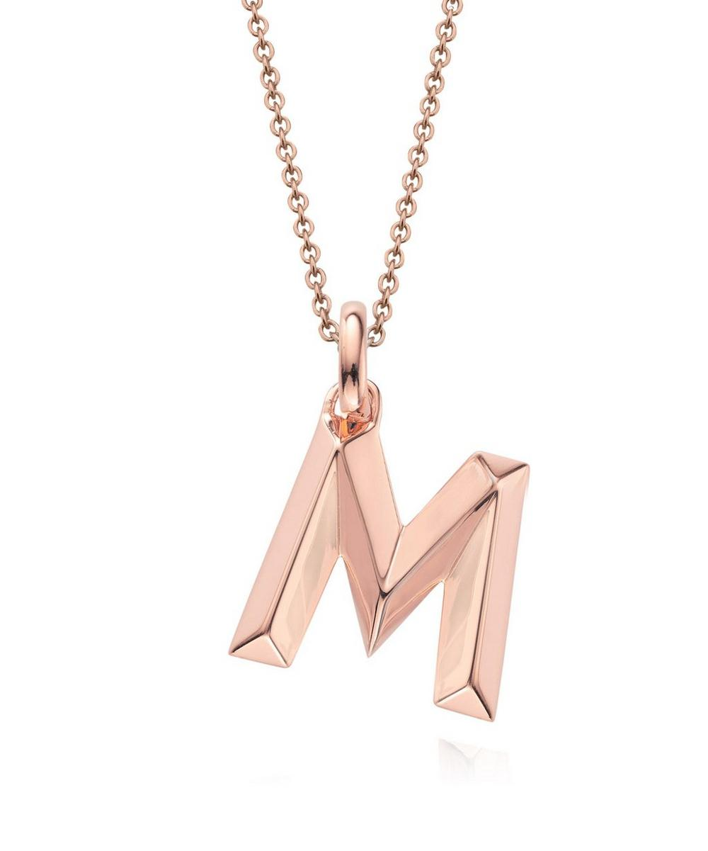 Rose Gold-Plated Alphabet Pendant M