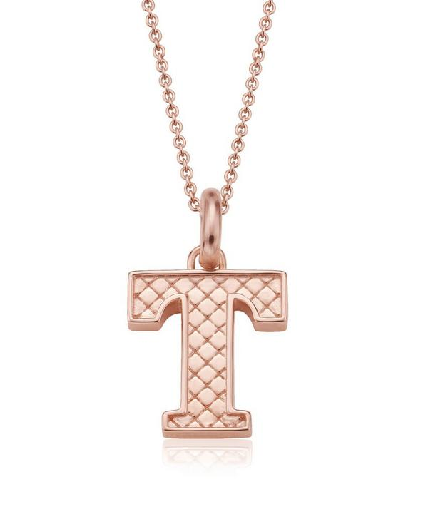 Rose Gold-Plated Alphabet Pendant T
