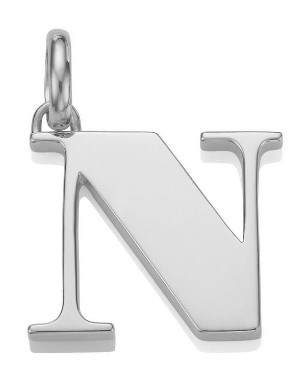 Silver Alphabet Pendant N