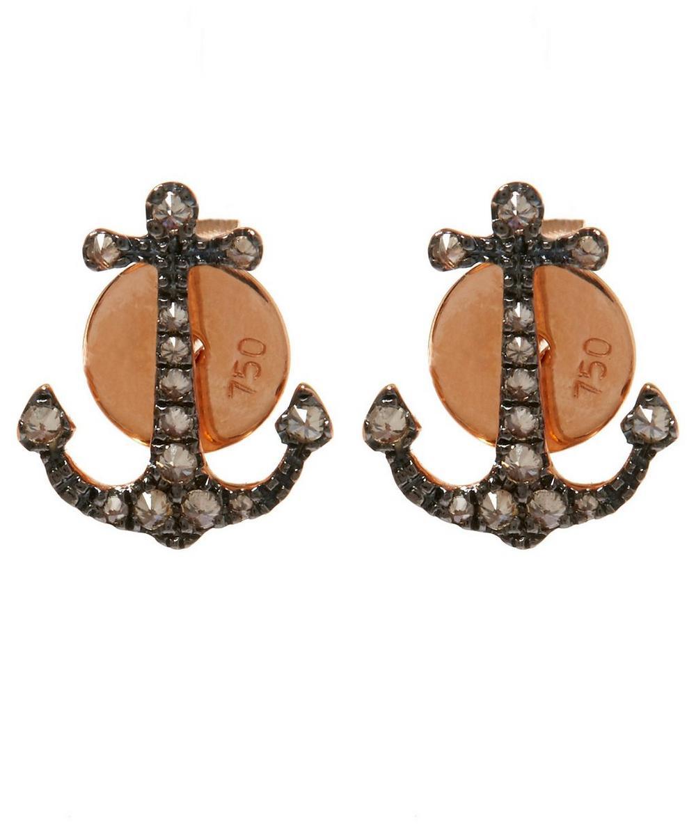 Rose Gold Love Diamonds Anchor Stud Earrings