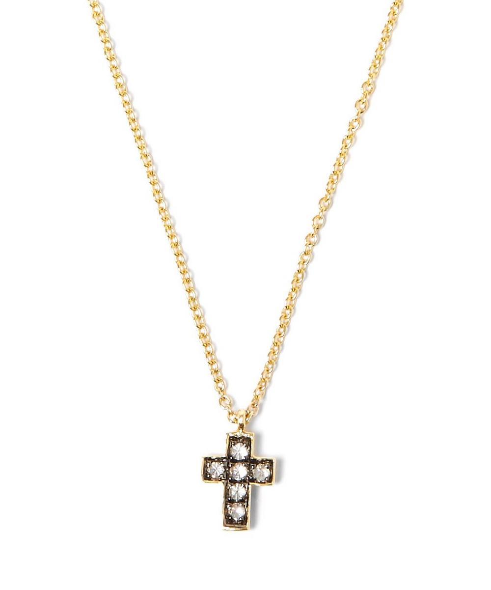 Yellow Gold Love Diamonds Cross Necklace