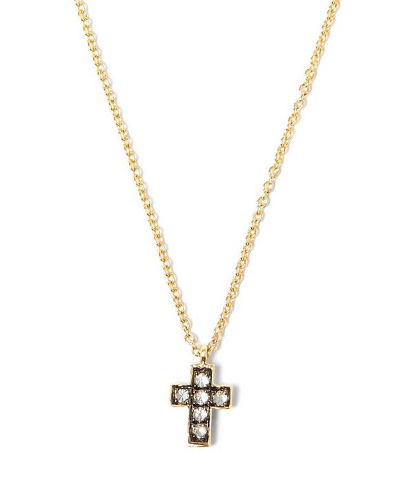 Yellow Gold Love Diamonds Cross Necklace