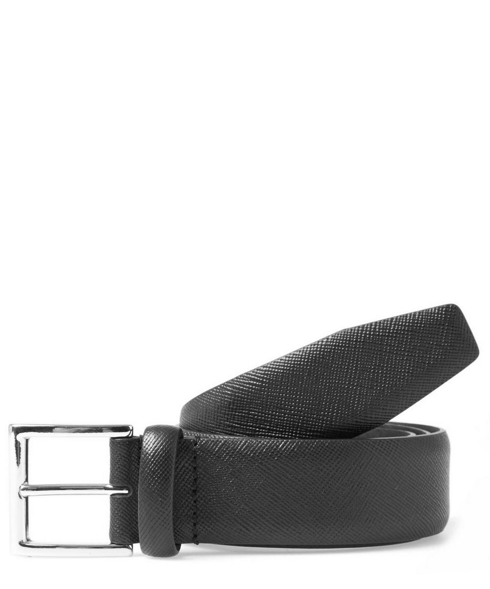 Cross Hatch Texture Leather Belt