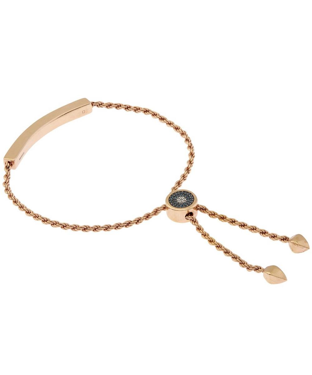 Rose Gold-Plated Linear Diamond Evil Eye Toggle Bracelet