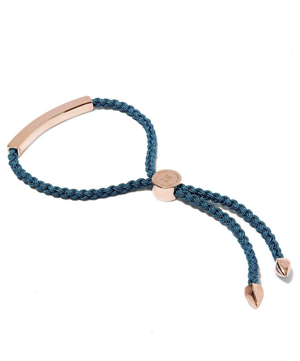 Rose Gold-Plated Linear Blue Cord Friendship Bracelet