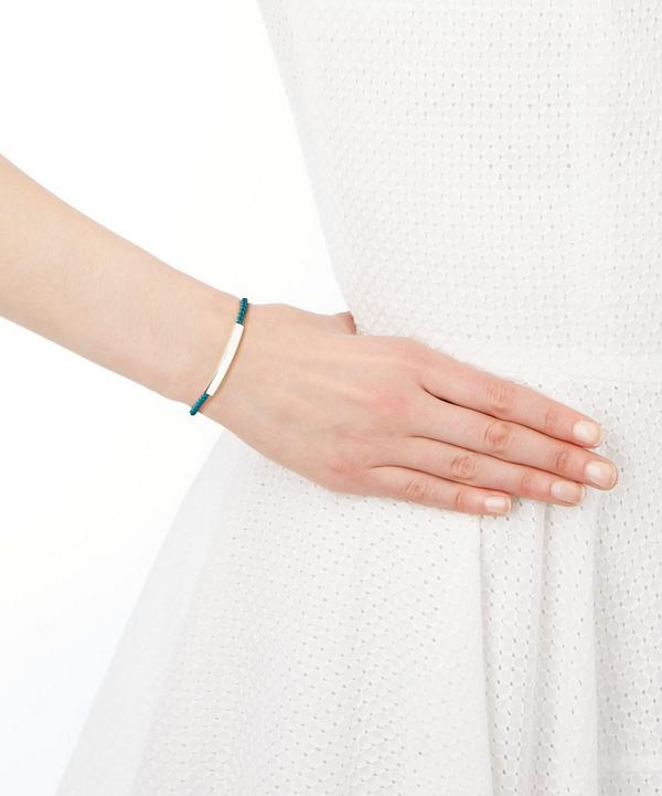 Silver Linear Friendship Blue Cord Bracelet