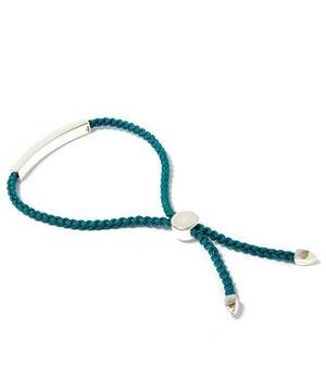 Silver Linear Friendship Blue Cord Bracelet