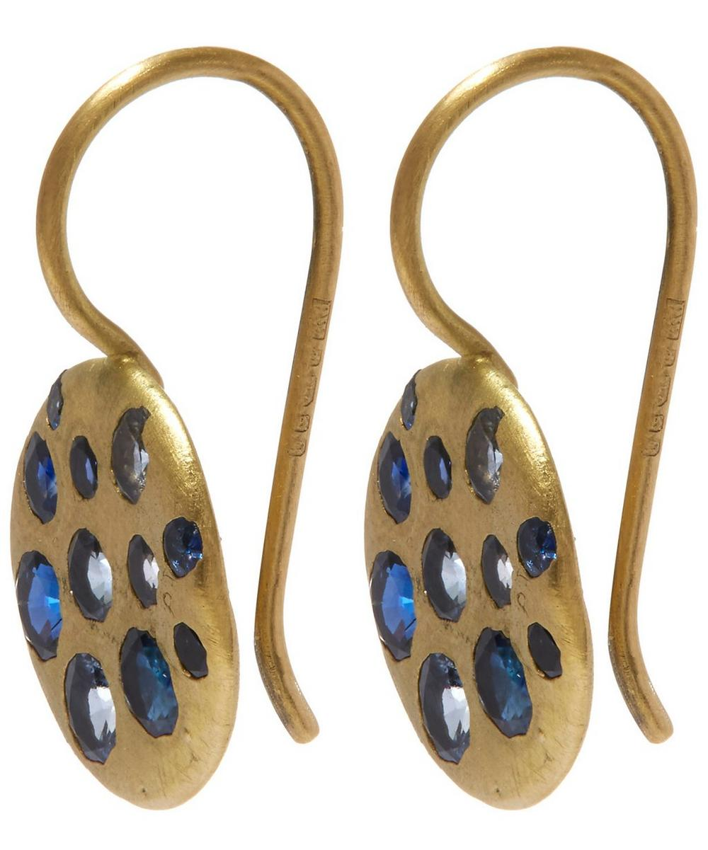 Gold Crystal Disc Blue Sapphire Hook Earrings