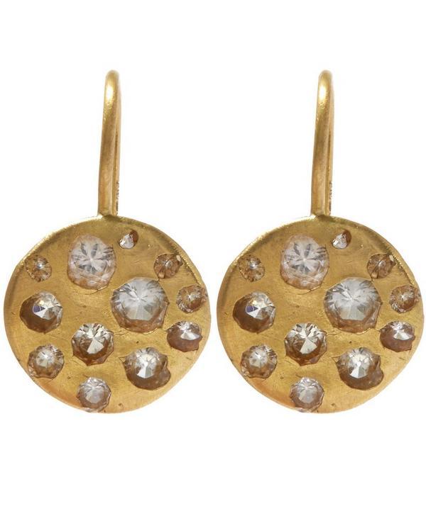 Gold Crystal Disc White Sapphire Hook Earrings