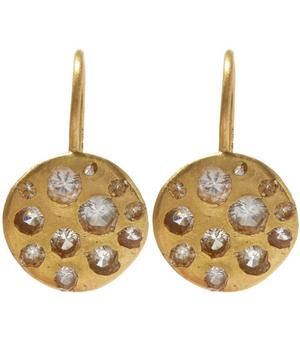 Gold Crystal Disc White Sapphire Hook Earrings