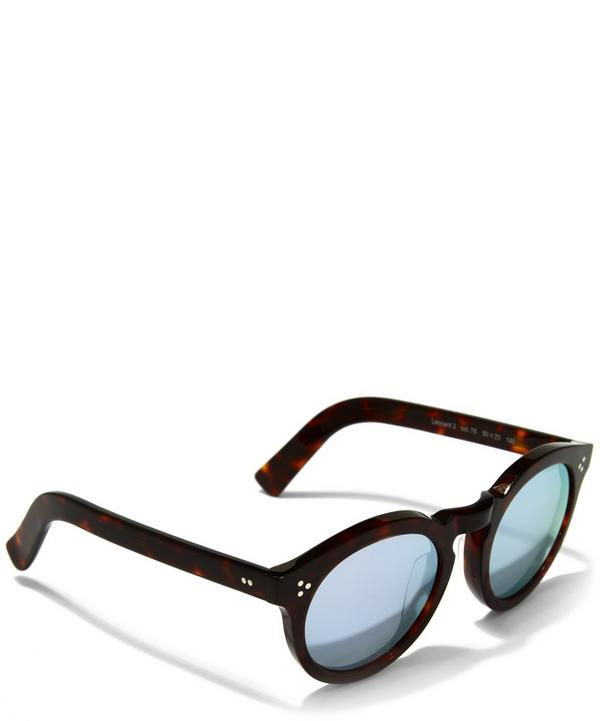 Havana Rounded Sunglasses with Silver Mirror Lenses