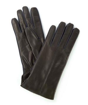 Contrast Rope Stitch Nappa Leather Gloves