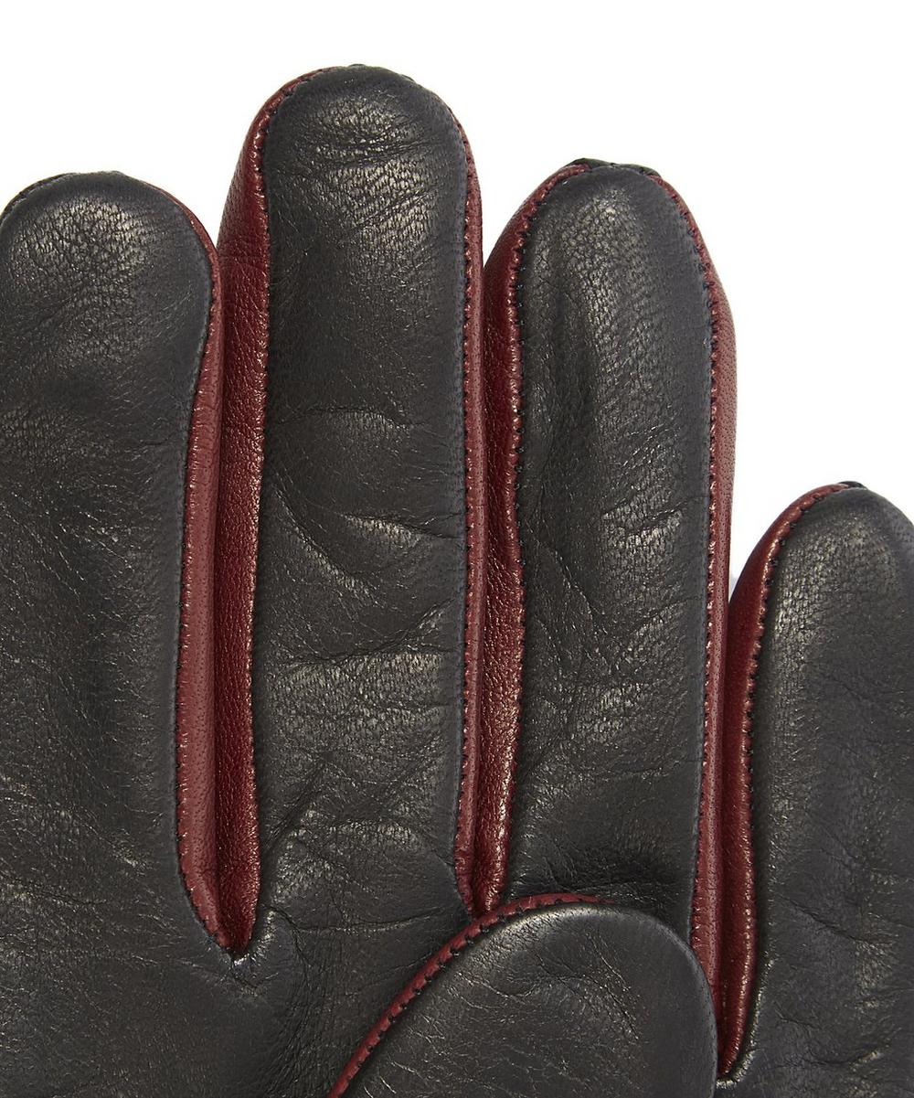 Contrast Fourchettes Zip Leather Gloves