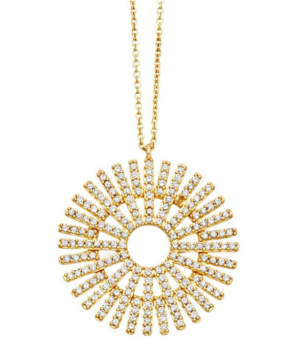 Large Gold-Plated Rising Sun Diamond Necklace