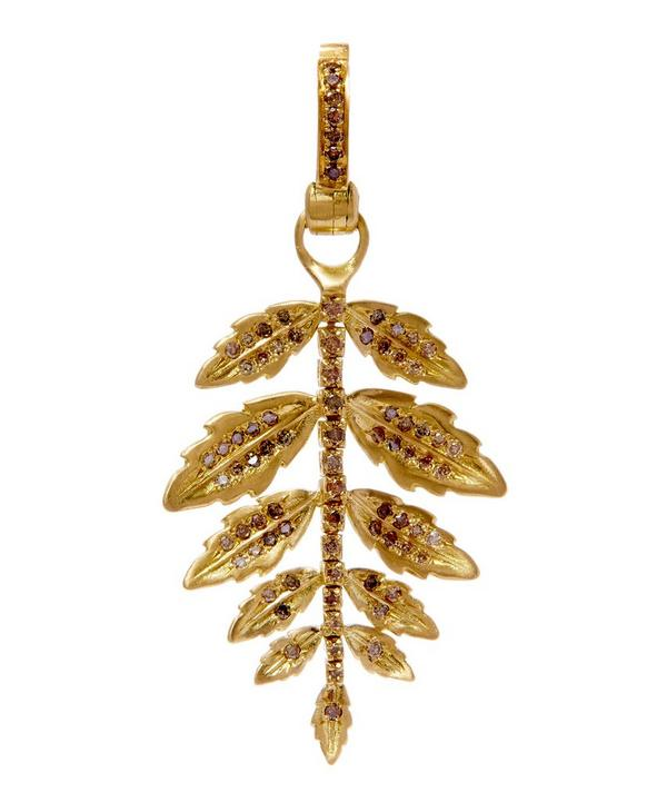 Gold Diamond Mythology Fern Amulet Pendant