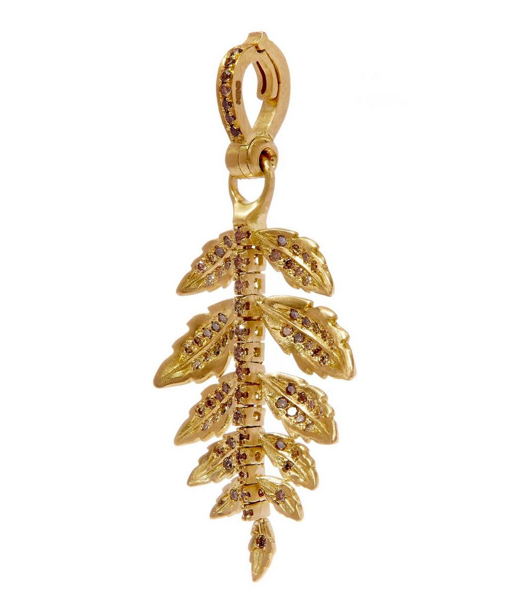 Gold Diamond Mythology Fern Amulet Pendant