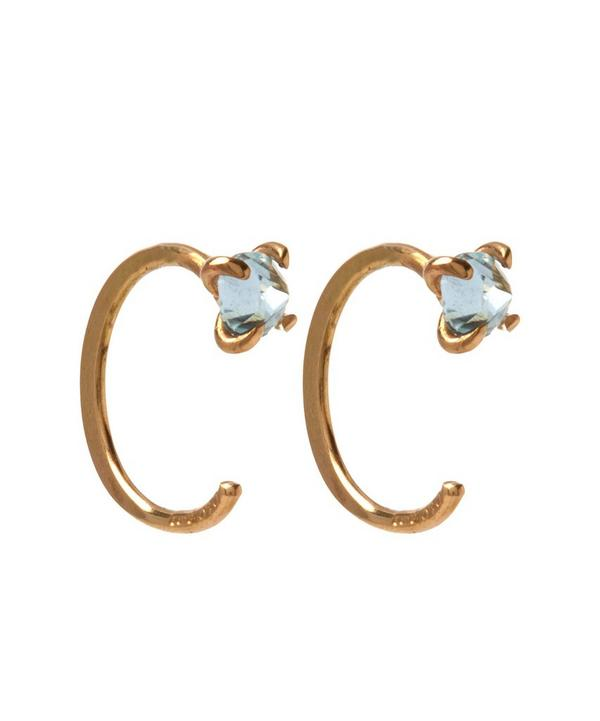 Small Sky Blue Topaz Hug Hoops