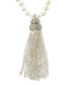 Long Tassel and Pearl Pendant Necklace