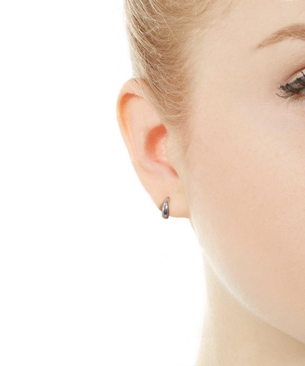 Mini Diamond Crescent Hoop Earrings