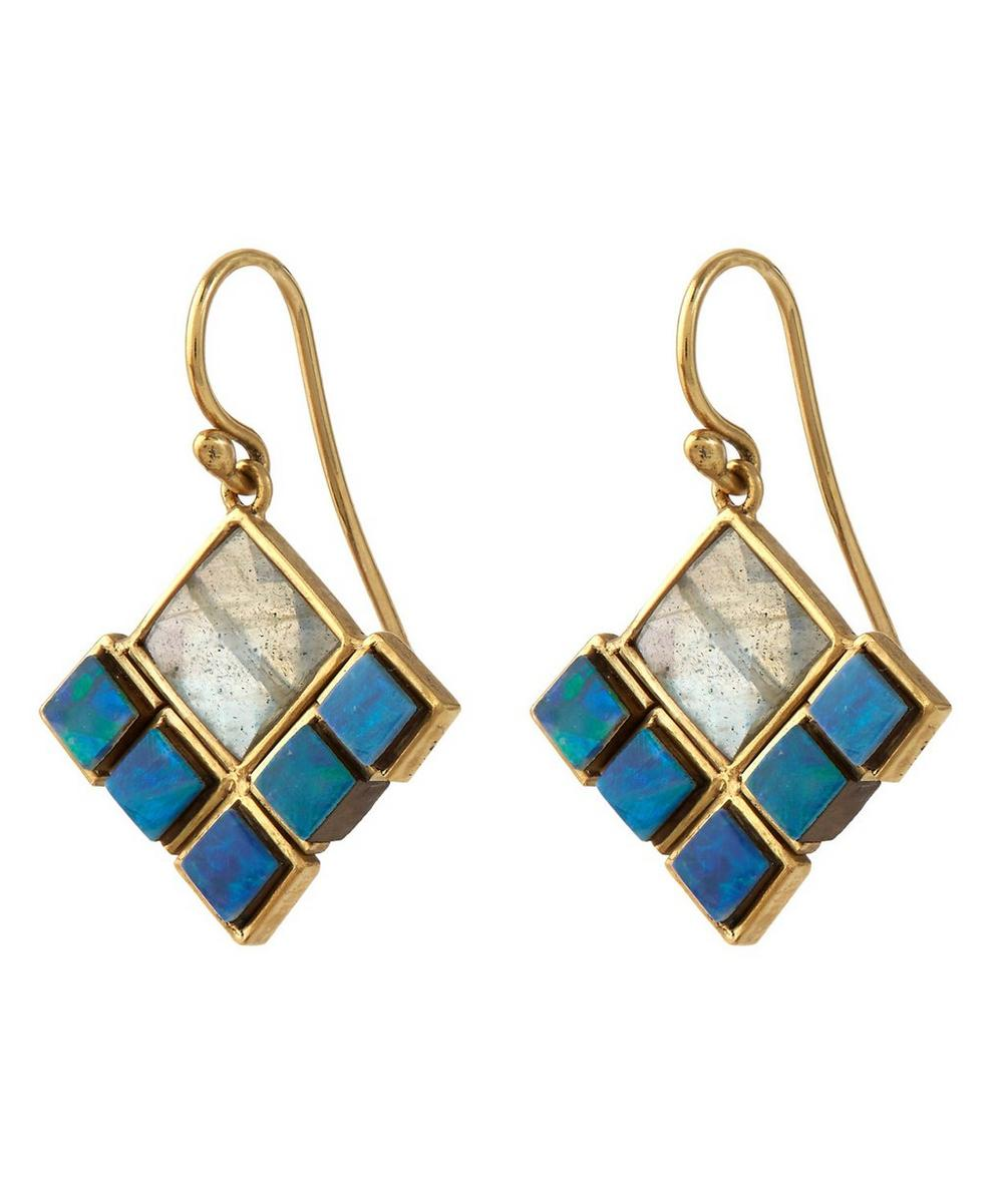Blue Boulder Opal and Labradorite Earrings