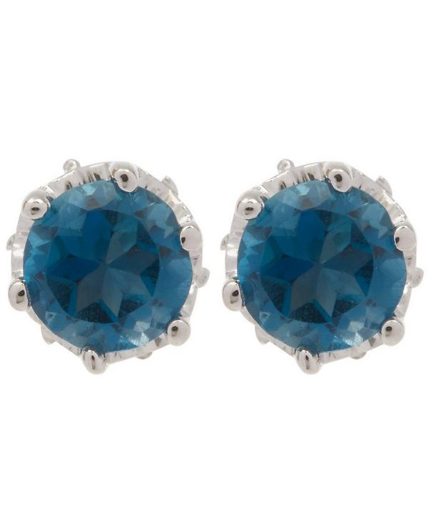 Petite White Gold Solitaire London Blue Topaz Studs