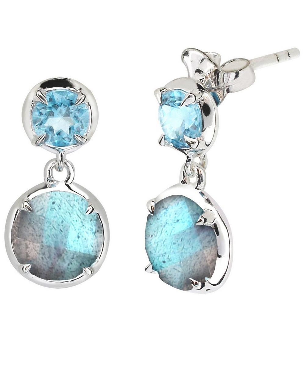 Silver Labradorite Sheba Double Drop Earrings