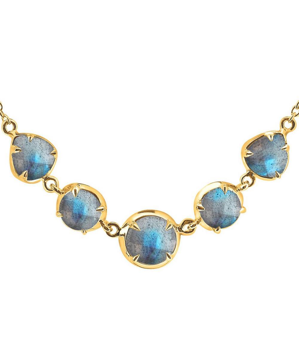 Gold Vermeil Sheba Five Stone Labradorite Necklace