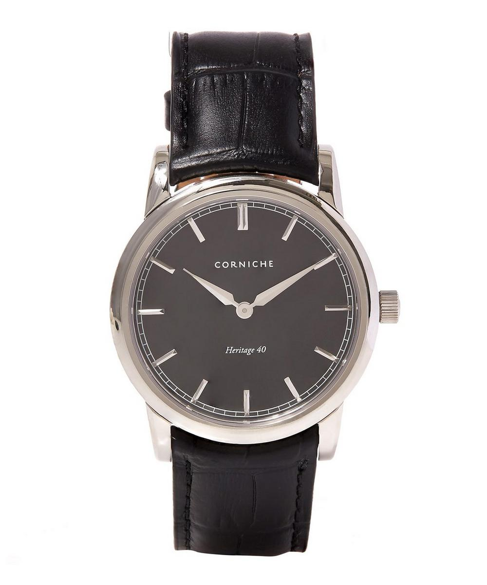 CORNICHE STAINLESS STEEL HERITAGE 40 BLACK DIAL WATCH