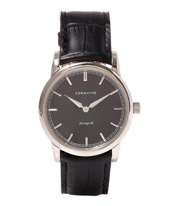 Stainless Steel Heritage 40 Black Dial Watch