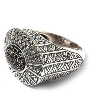 Oval Ring with Black Diamond Pave Center