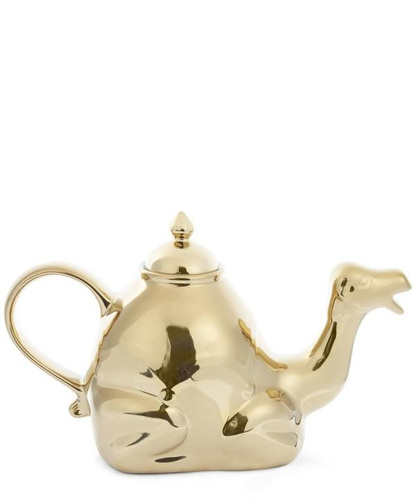 Polished Gold-Tone Camel Teapot