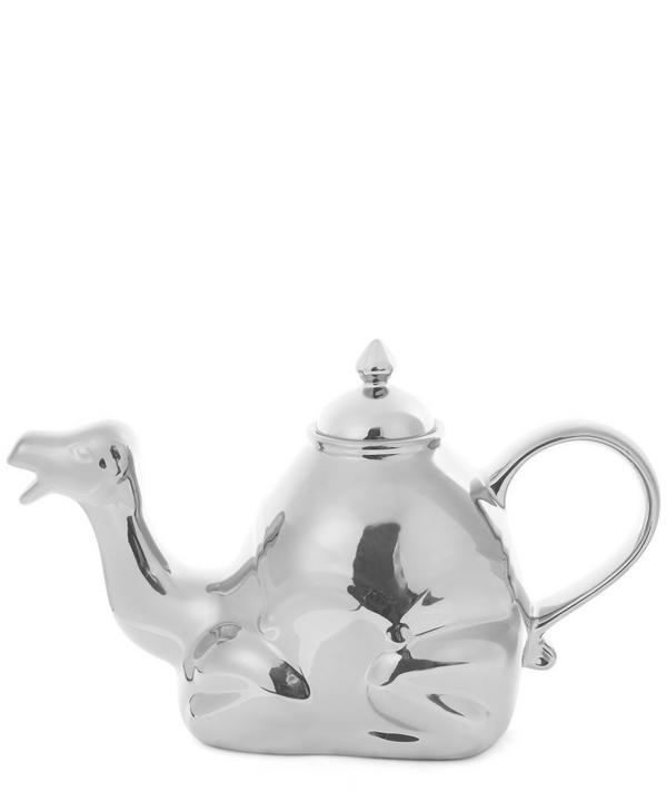 Polished Silver-Tone Camel Teapot
