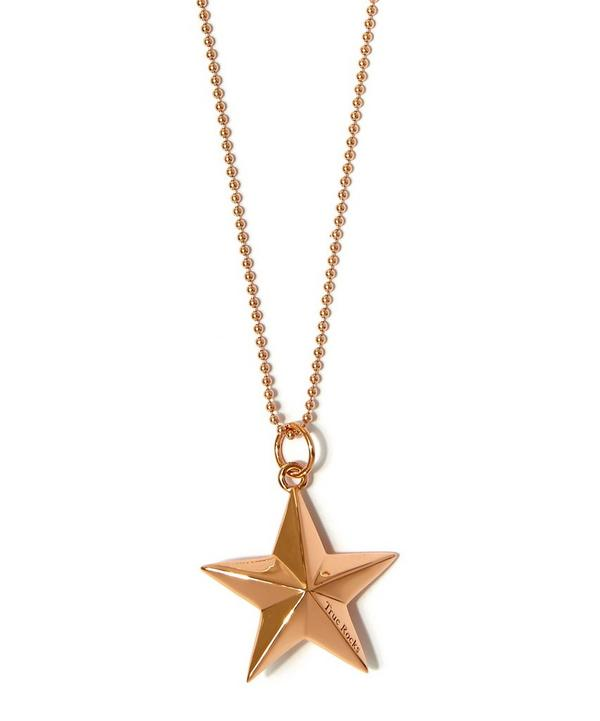 Large Rose Gold-Plated Military Star Necklace