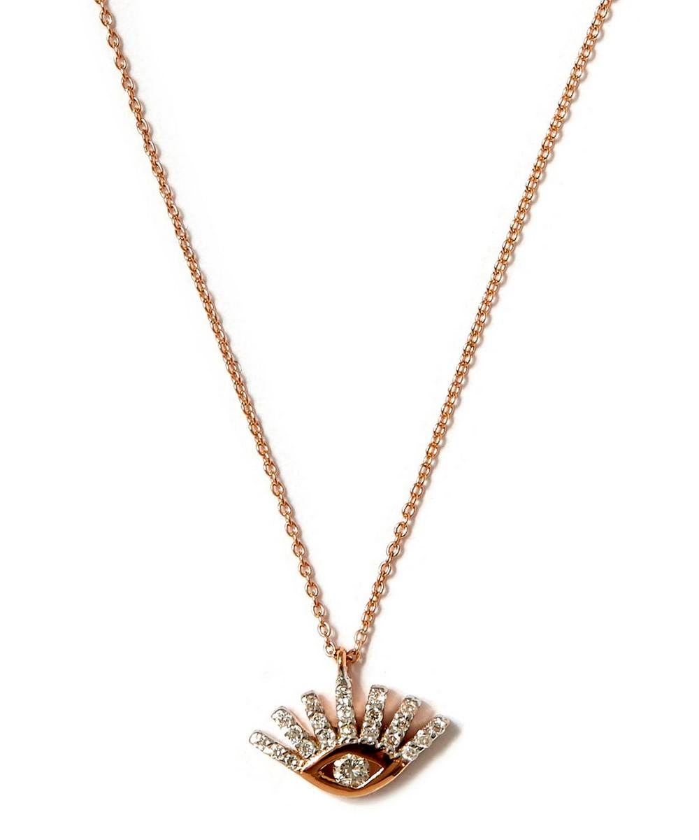 Small Rose Gold Evil Eye White Diamond Necklace