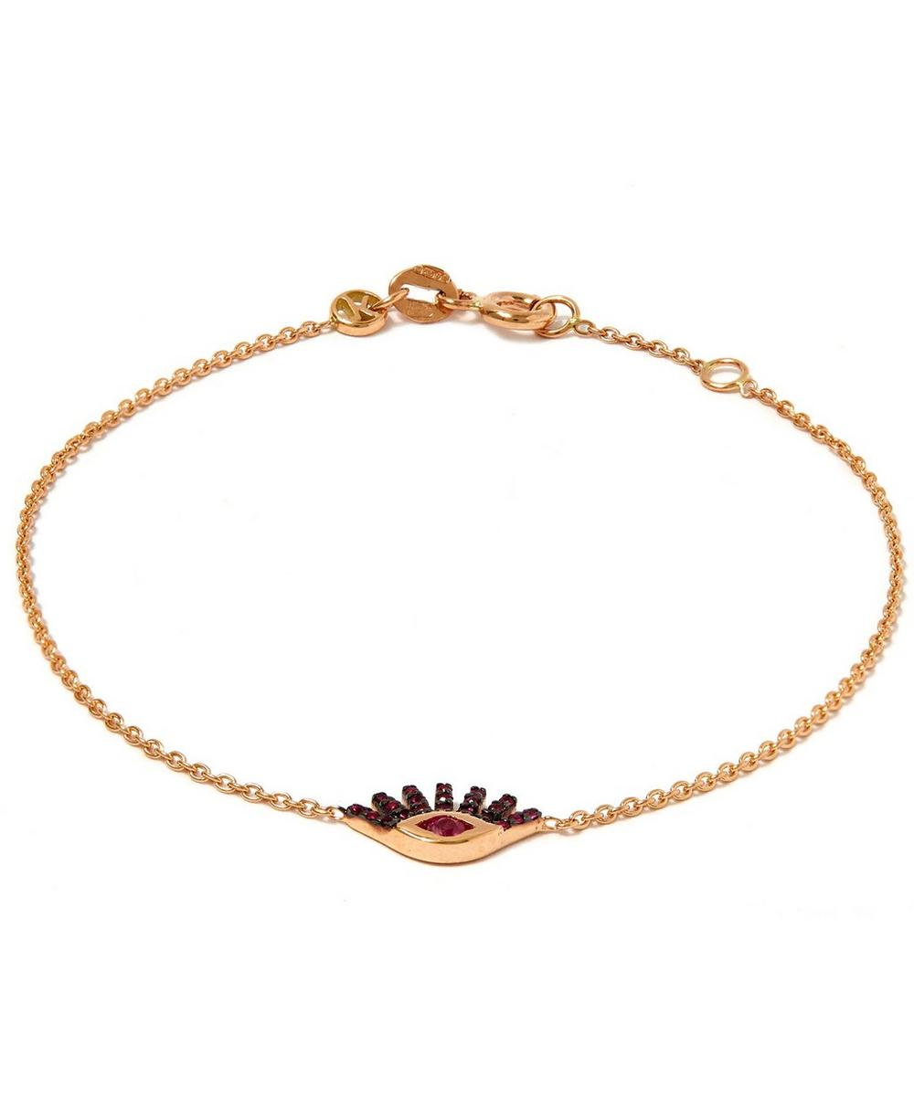 Rose Gold Evil Eye Ruby Bracelet