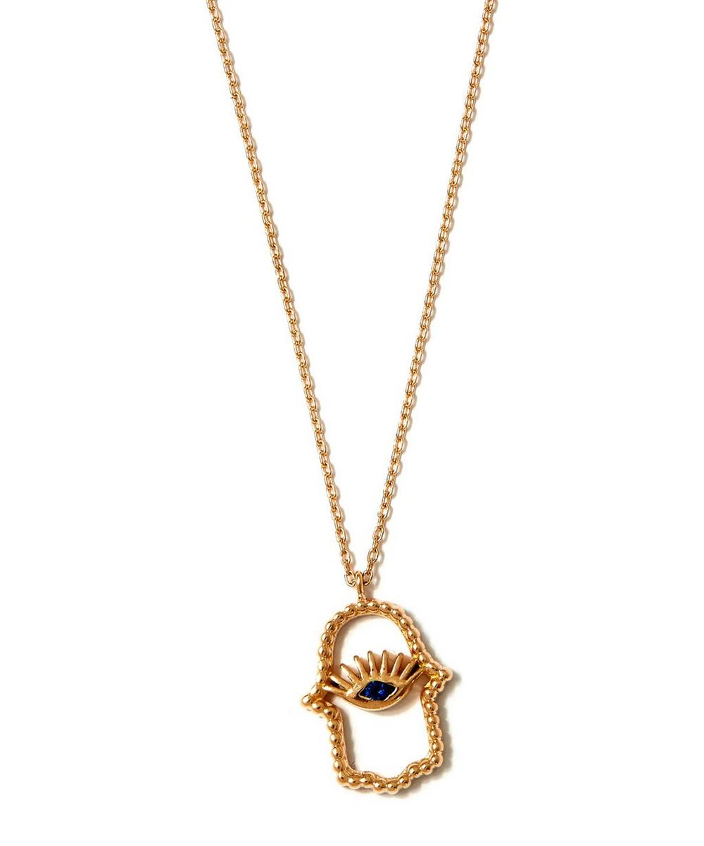 Large Gold Hamsa Sapphire Necklace