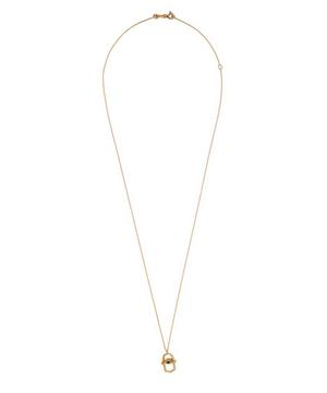 Large Gold Hamsa Sapphire Necklace