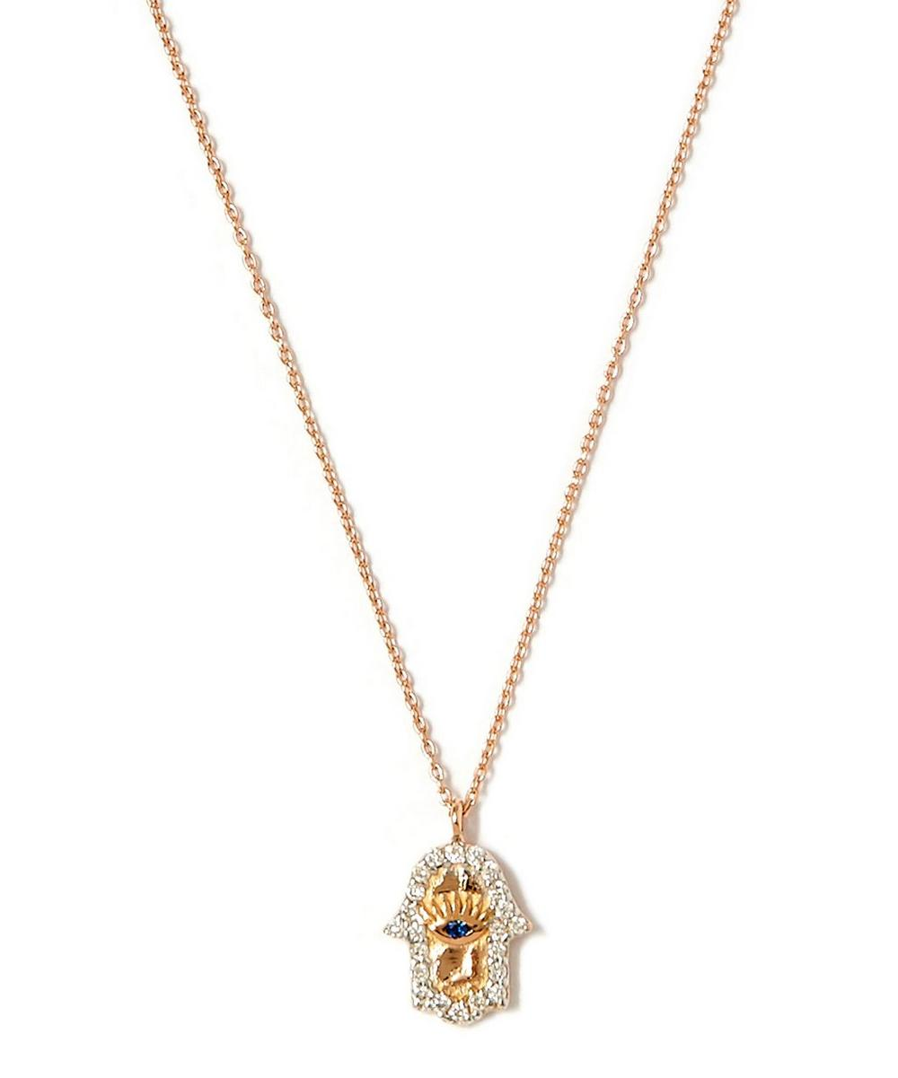 Gold Hamsa White Diamond Necklace