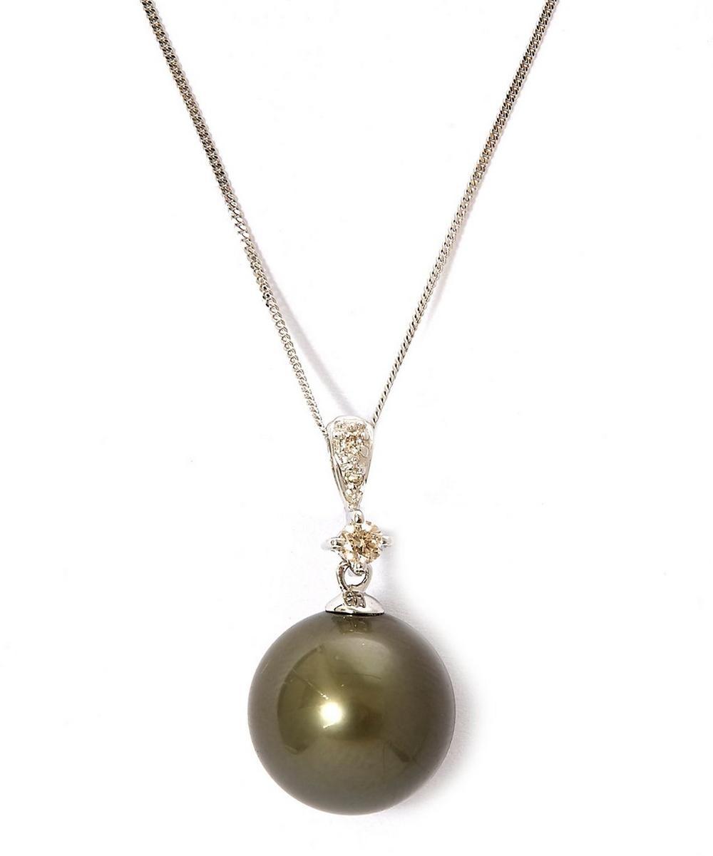 Green Tahitian Pearl Diamond Necklace