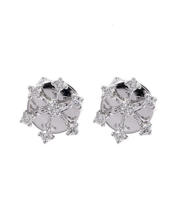 White Gold Snowflake Diamond Stud Earrings