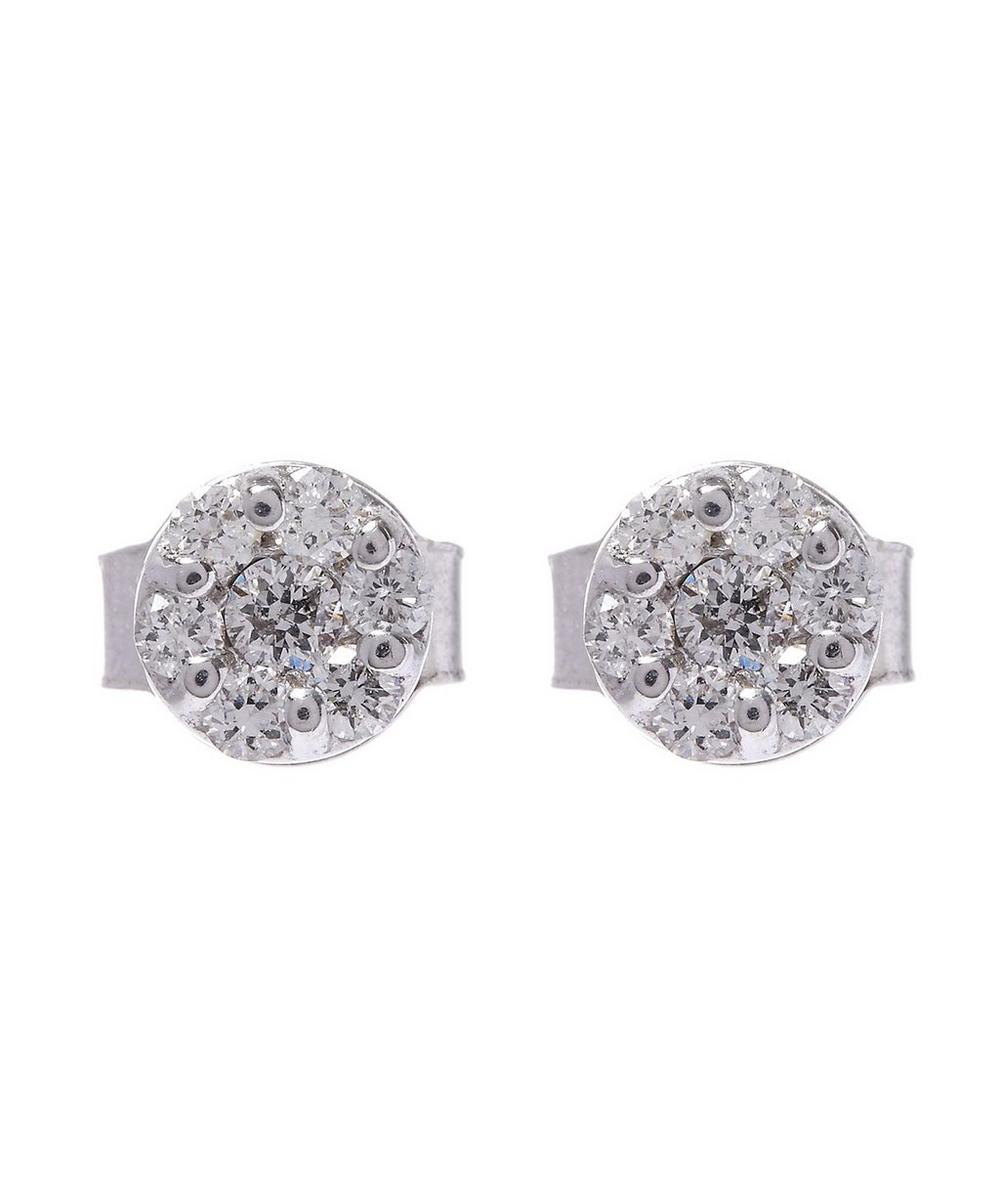 White Gold Brilliant Cut Diamond Cluster Earrings