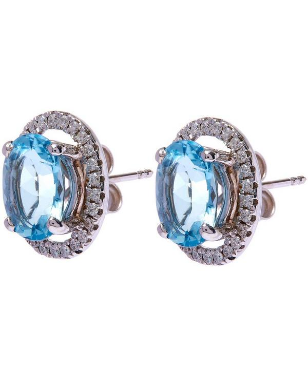 White Gold Aquamarine Halo Diamonds Stud Earrings