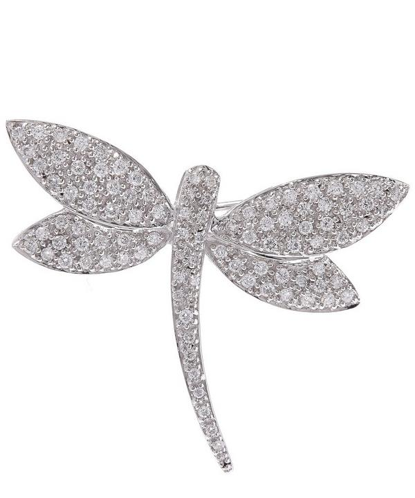 White Gold Dragonfly Diamond Brooch