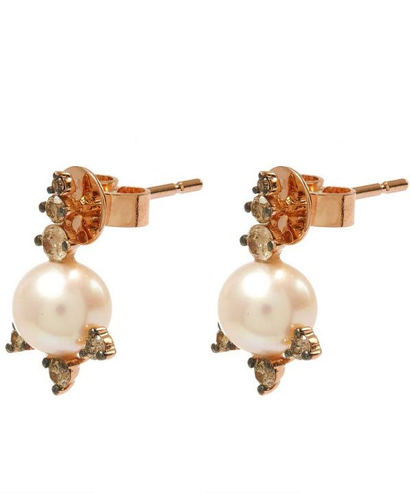 Rose Gold Diamond and Pearl Stud Earrings